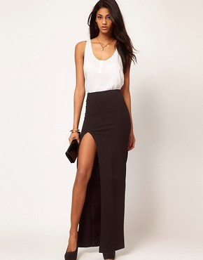 Image 1 of ASOS Maxi Skirt with Thigh High Split