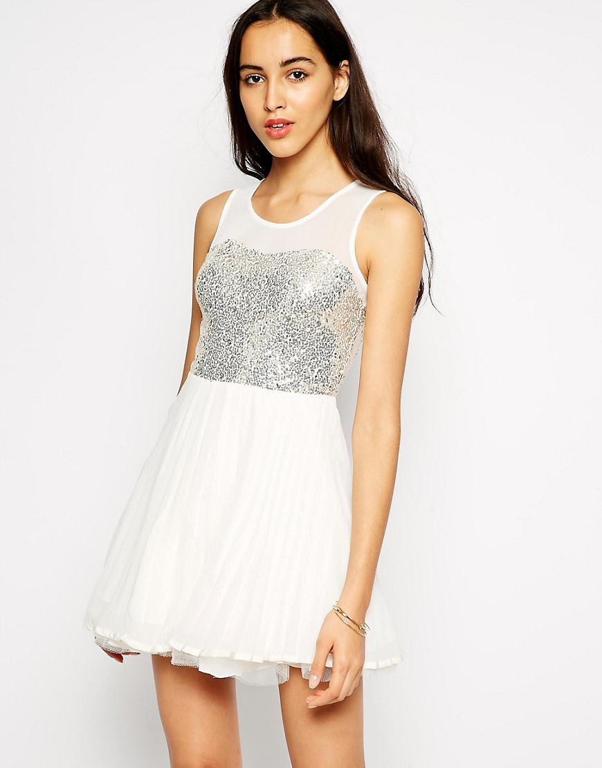 Image 1 of AX Paris Skater Dress with Sequin Bust