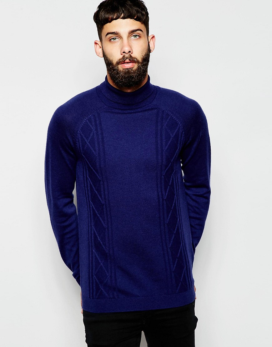 Image 1 of ASOS Roll Neck Sweater with Cable in Merino Wool Mix
