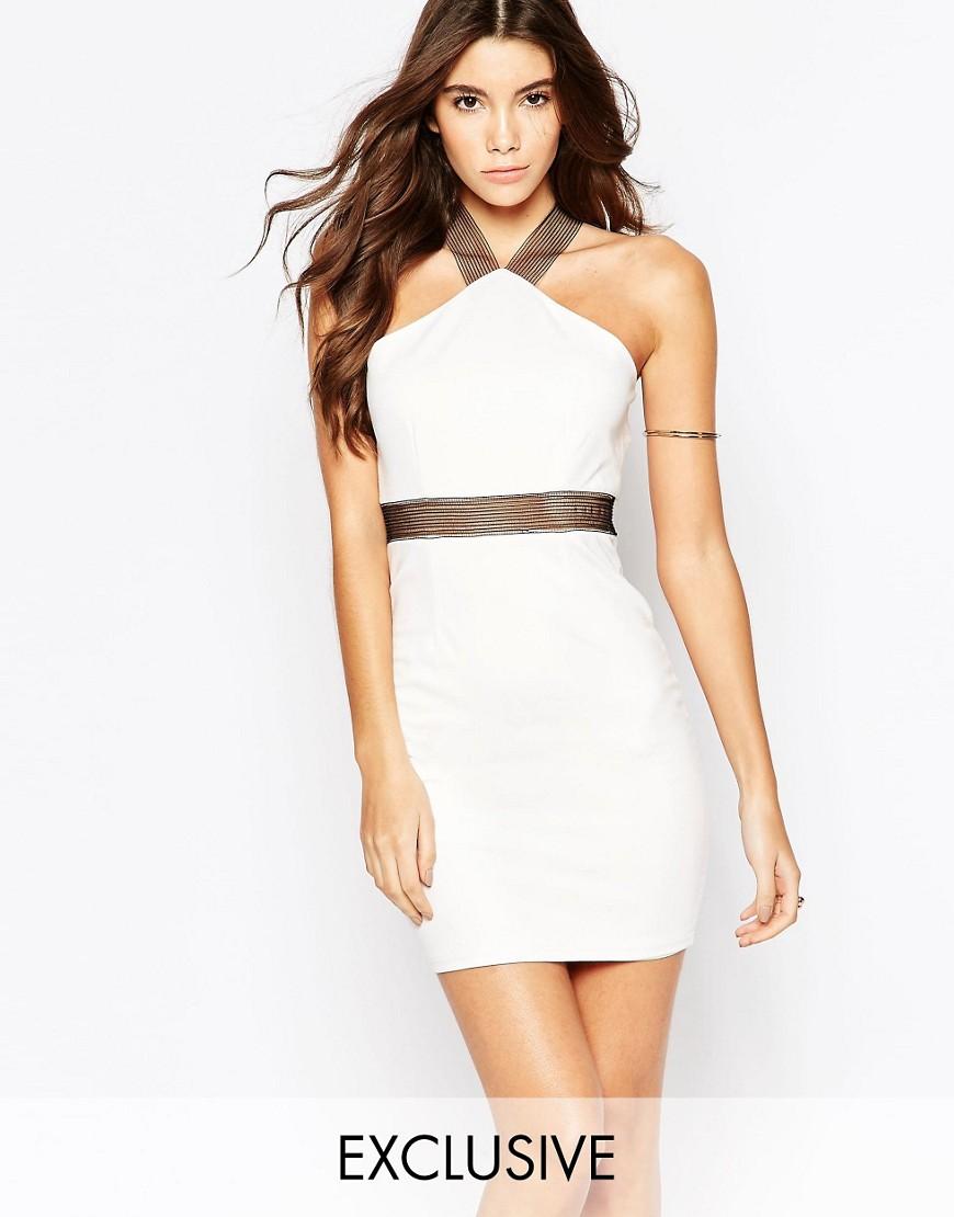 Image 1 ofNaaNaa Mini Bodycon Dress With Mesh Strap Detail