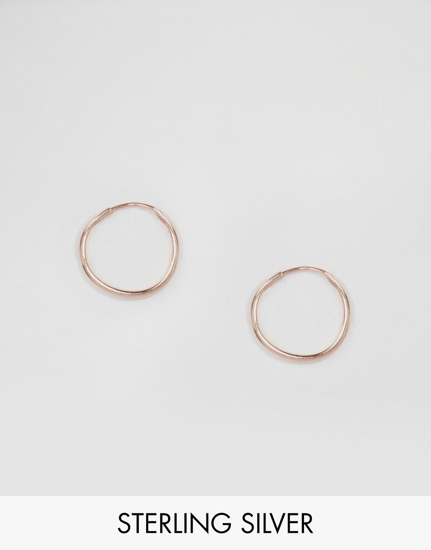 ASOS Rose Gold Plated Sterling Silver 9mm Hoop Earrings
