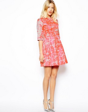 Image 4 of ASOS Fluro Jacquard Skater Dress