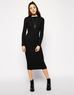 Image 1 of ASOS Midi Dress In Rib Knit