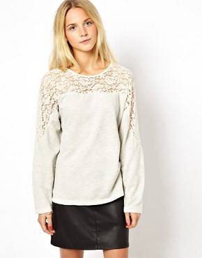 Image 2 of ASOS Jumper with Lace Insert