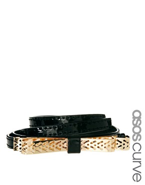 ASOS CURVE Metal Cut Work Bow Waist Belt