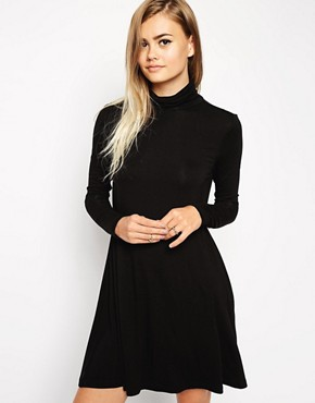 Image 1 of ASOS Swing Dress with Polo Neck with Long Sleeves