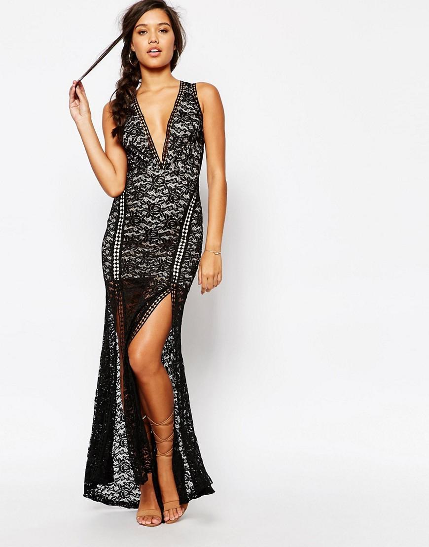 Image 1 - Love Triangle - Maxi robe en dentelle à décolleté plongeant et détails échelle