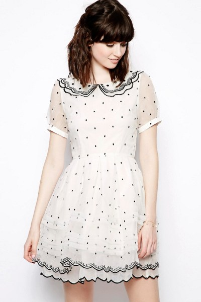 Allover Polka Dot Collar Prom Dress £130 by Nishe from ASOS