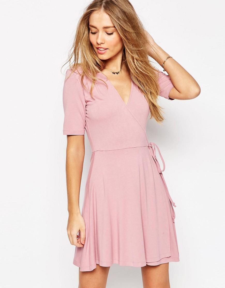 Image 1 ofASOS Mini Tea Dress with Wrap Front