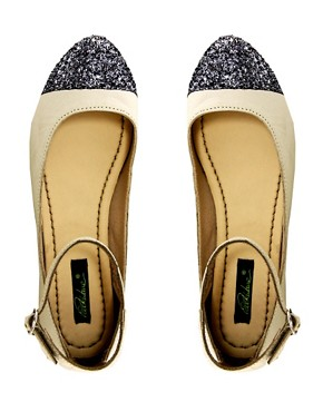 Image 3 of Park Lane Ankle Strap Glitter Toe Flat Shoe