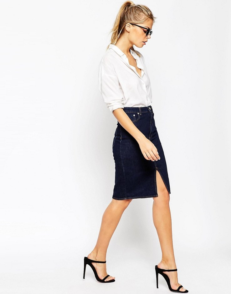 ASOS Denim Split Front Midi Pencil Skirt in Indigo - Indigo