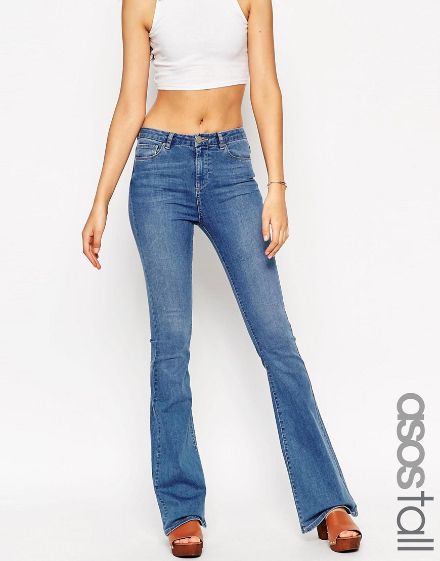 Image 1 of ASOS TALL Baby Kick Flare in Melinda Bright Wash