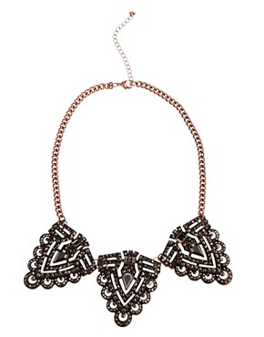 Image 1 of River Island Copper and Hematite Encrusted Short Statement Necklace