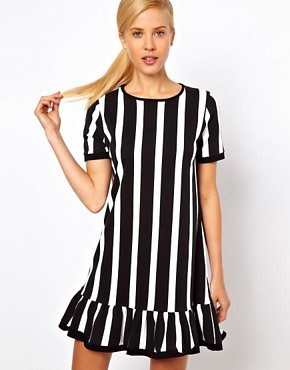Image 1 of ASOS Shift Dress With Ruffle Hem In Vertical Stripe Print