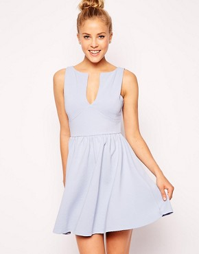 ASOS Sleeveless Skater Dress in Structured Rib with V Neck