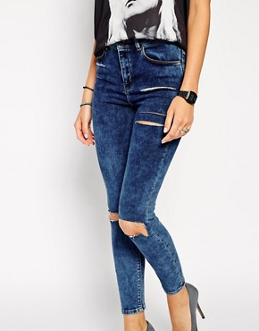 Image 3 ofASOS Ridley Skinny Ankle Grazer Jeans in Mottled Acid Wash with Thigh Rips and Busted Knees