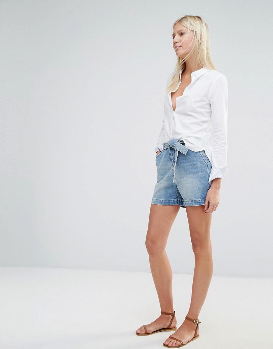 Image 1 - Vero Moda - Short en jean taille haute avec ceinture
