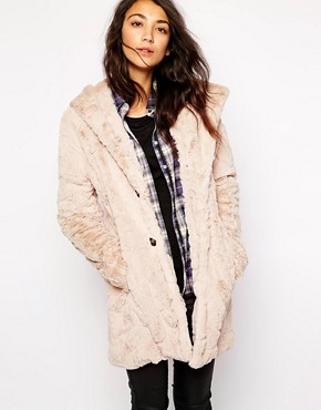 Esprit Faux Fur Hooded Coat