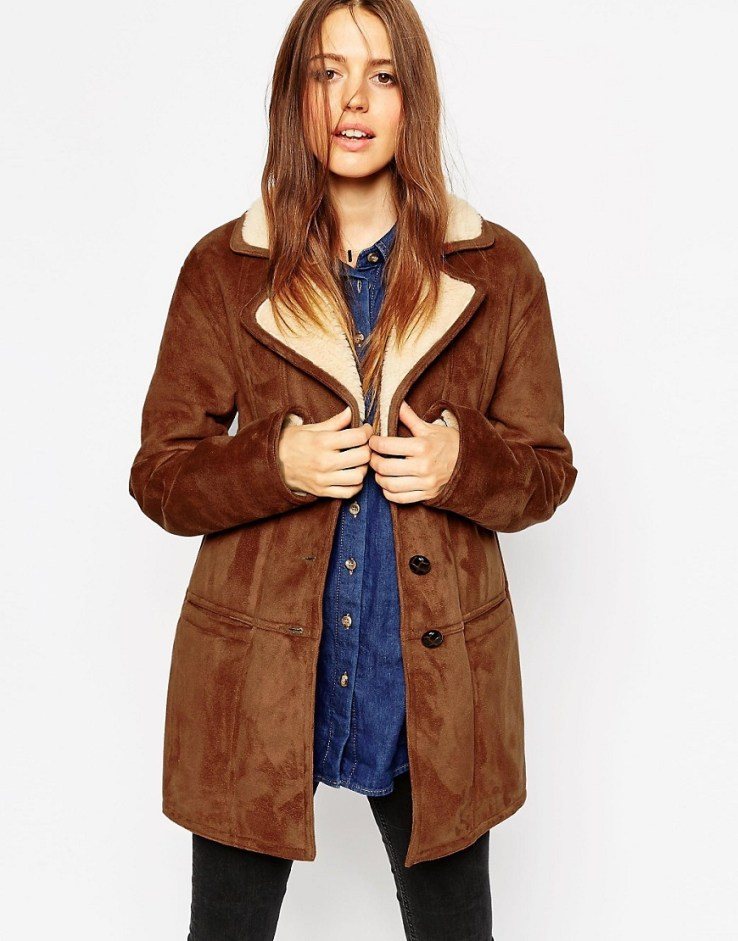 ASOS Coat In Faux Shearling with Panel Detail