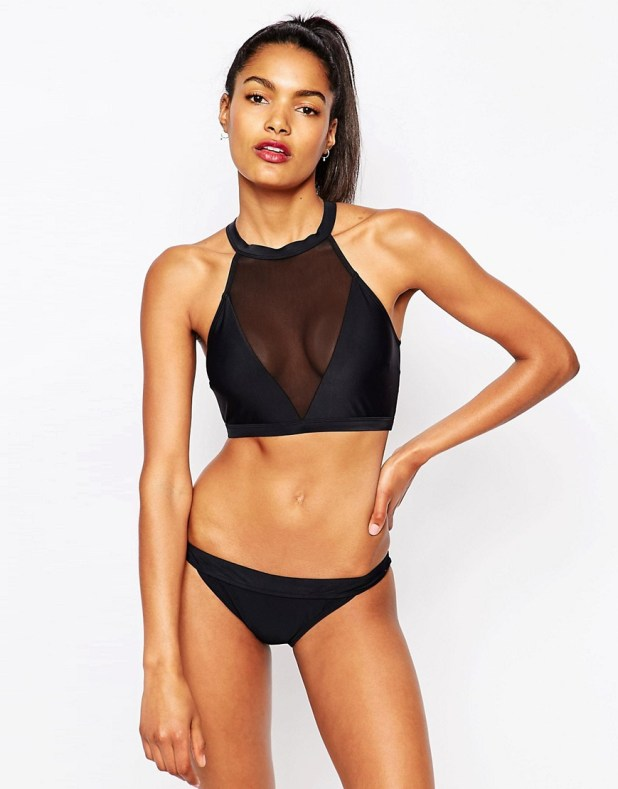 High neck crop bikini top met mesh - € 32,88