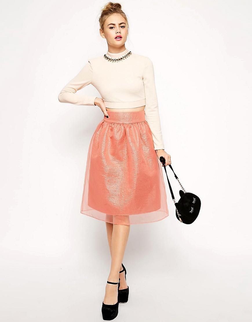 Image 1 ofASOS Premium Midi Skirt in Pink Metallic with Sheer Overlay