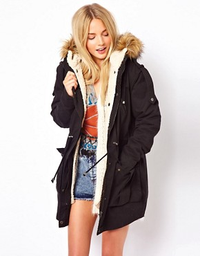 Image 1 of ASOS Fur Hooded Detachable Lined Parka
