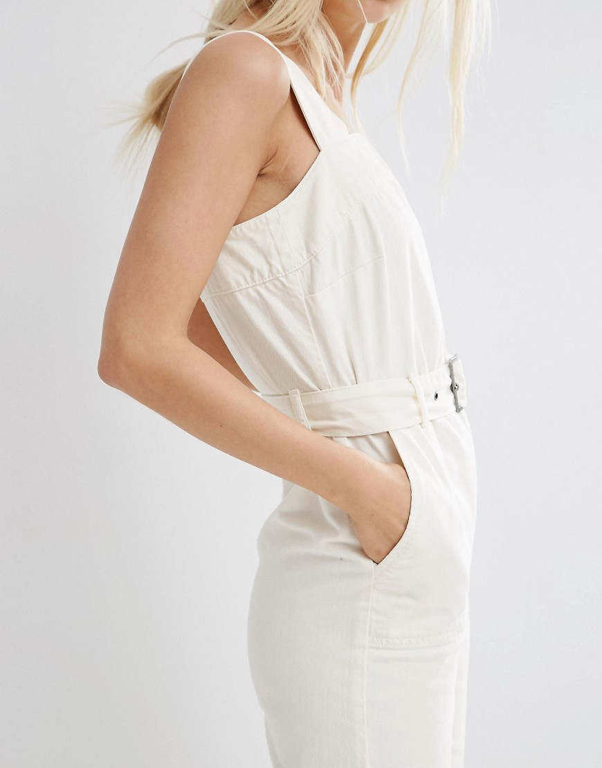 Image 3 of ASOS Denim Jumpsuit In Off White