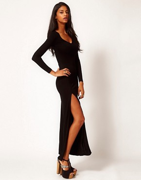 Image 1 of ASOS Maxi Dress With Split & Long Sleeve