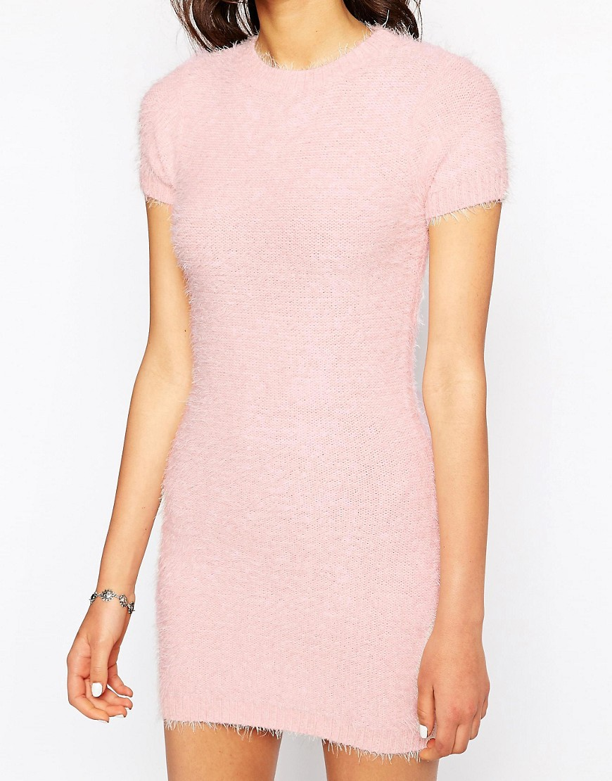 Image 3 of Motel Begonia Fluffy Mini Dress in Soft Pink