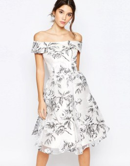 Image 1 of Chi Chi London Off Shoulder Midi Dress in Organza