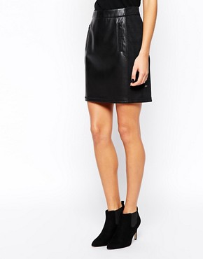 Image 4 of BOSS Orange Mini Skirt in Leather Look with Zips
