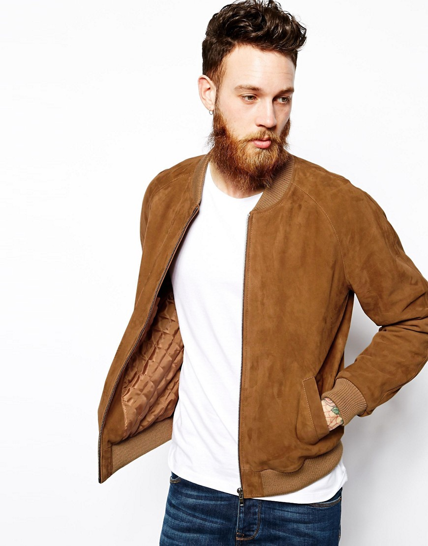 Image 1 of ASOS Suede Bomber Jacket In Tan
