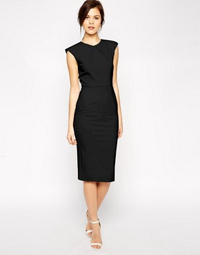 Image 1 ofASOS Pencil Dress with Structured Fold Sleeve