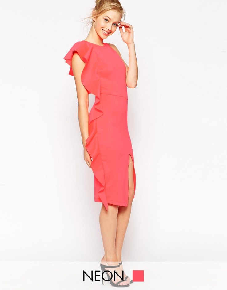 ASOS Asymmetric Ruffle Midi Pencil Scuba Dress