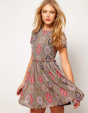 ASOS Soft Skater Dress In Paisley