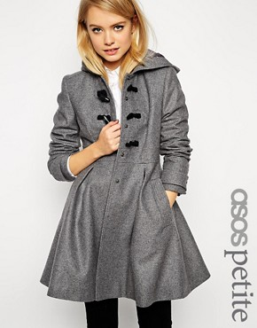 ASOS PETITE Skater Duffle Coat with Skirt Detail