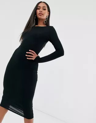 Midi Dresses   Shop midi dress styles   ASOS Boohoo Long Sleeve Midi Dress