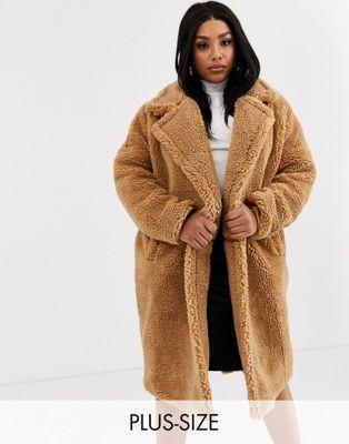 missguided plus manteau long imitation peau de mouton fauve