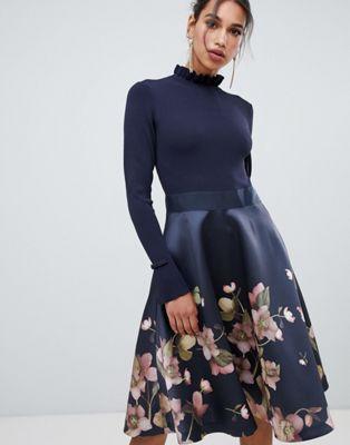 2b508f0cf9ad2c Ted Baker Ted Baker Seema Arboretum Knitted Bodice Dress