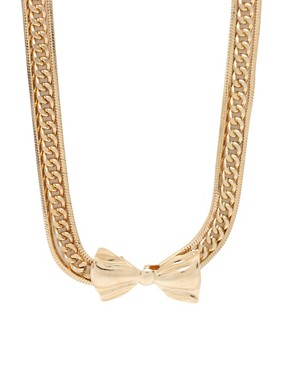 Asos Short Multi Row Chain Necklace With Metal Bow Tie £12