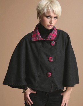 Nikki Pumpkin Tartan Trim Wool Cape