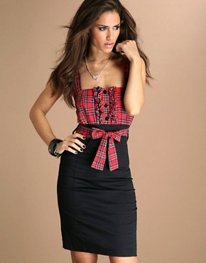 TFNC Tartan Top Body Con Pencil Dress