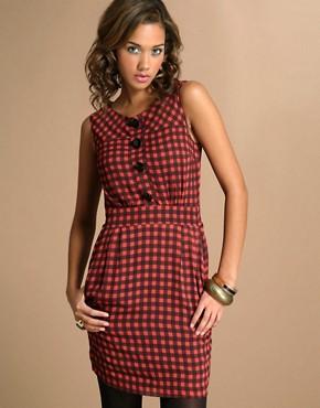 ASOS Check Chiffon Pocket Dress
