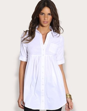 ASOS Three Quarter Sleeve Tab Shoulder Longline Shirt
