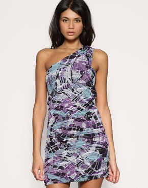 ASOS Abstract Feather Print One Shoulder Dress
