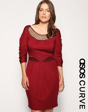 ASOS CURVE Dobby Mesh Panel Ruched Sleeve Dress