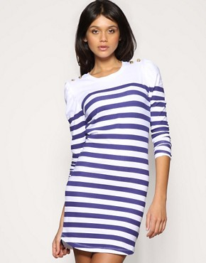 ASOS Breton Stripe Puff Sleeve Dress
