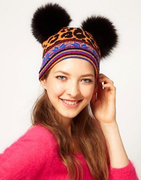 Image 1 of Sister By Sibling Fair Isle Leopard Double Pom Hat