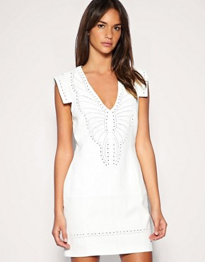 Image 1 ofFrench Connection Cut Work Leather Mini Dress