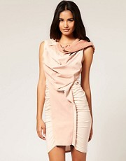 ASOS Leather & Jersey Dress with Draped Front